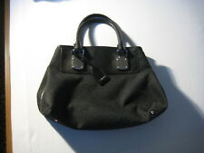 DKNY large black cloth and leather handbag