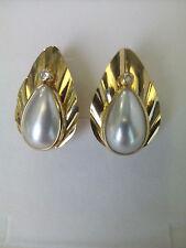 Orecchini donna oro18 kt giallo, madreperla bianca,zircone bianco Earrings Gold