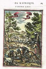 """Mallet Ethnology -1672- """"SINGES"""" (AFRICA)  Hand-Colored Engaving"""