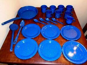 21 Pcs Dark Blue Speckled Enamelware Dinnerware Cook Pan Mugs Plates Camping