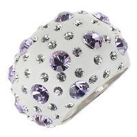 Damen-Ring echt Silber 925 großer Ringkopf Kristalle lila weiß groß