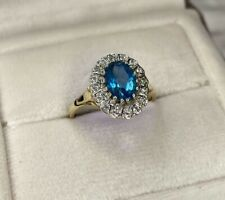 9ct Yellow Gold Cubic Zirconia & Blue Topaz Cluster Ring Size N UK Hallmarked