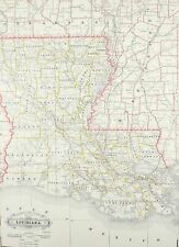 1887 Railroad and County Map of Louisiana Antique
