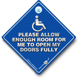 DISABLED Please Allow Enough Room To Open Doors Fully Car Sign, Wheelchair Sign