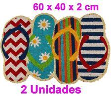 2 x Felpudo alfombra diseño Chanclas 60x40cm,superficie fibra de coco,decoracion