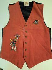 Vintage Rocky and Bullwinkle Brown Corduroy Vest Universal Ranch Carl Laemmle
