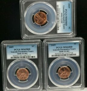 2009 Lincoln-Formative Years DDR FS-808 DDR FS-802 1C PCGS MS66RD / MS65RD 3 SET
