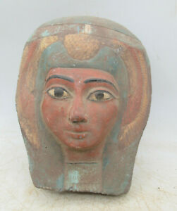 BEAUTIFUL OLD ANTIQUE EGYPTIAN PAINTED LIMESTONE CARVED MUMMY MASK
