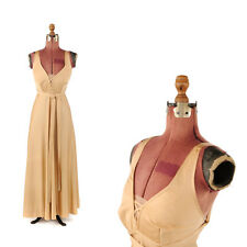 Vintage 70s Jackie Tarlet Gold Empire Waist Sweep Maxi Low Back Cocktail Dress S