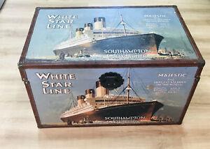 Vintage  Majestic White Star Line Ship Travel Trunk Box Advertising Cruise Ship.