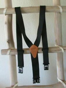 NEW PERRY BELT BLACK ELASTIC BROWN LEATHER PATCH CLIPS-ON SUSPENDERS