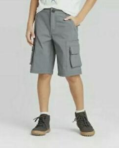 Cat & Jack Boys Stretch Cargo Shorts Grey (4) Adjustable Waist NWT