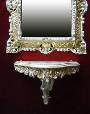 2-teiliges Set Gold/White Baroque Wall Mirror+Wall Bracket Mirror Table 44x38