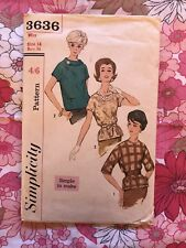 SIMPLICITY 3636 sewing pattern 1960s Complete vintage Retro Blouse B36 1960s