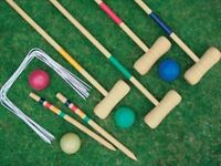 New Croquet Set 4 Player Garden Game Wooden Hoops Mallets Toy Balls Family Fun