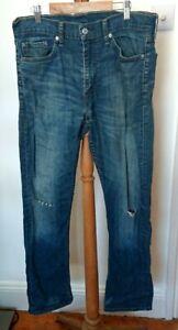 Levis 513 Blue Rip Knee Blue Jeans W 32, L 32