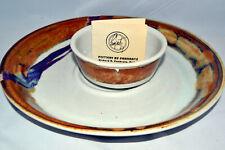 Artist Pottery Chip Dip Set Colorado Pankratz with Card!