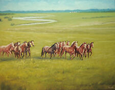 Sean Wu. Horses, Original 28x22 oil painting on stretched canvas