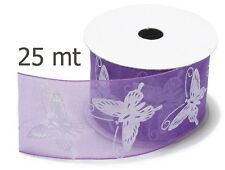 Organza Dekoband flieder/weiss Schmetterlinge 40 mm,  2m lang