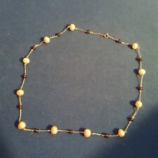 """10k Yellow Gold 16"""" Pearl And Amber Stone Necklace"""
