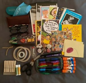 OFFICE JUNK DRAWER LOT~2 3/4LBS~PENS TAPE B'DAY CARDS READING GLASSES LIP BALM++