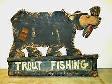 Antique Wood Bear Trout Fishing Fish Sign Adirondack Camping All Original