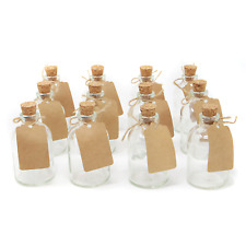 Set of 12 Mini Glass Bottles | Perfect for Wedding Favours & Decoration | M&W