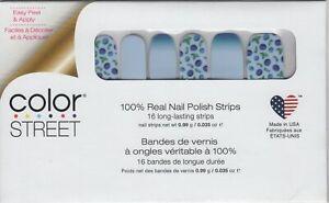 Color Street Nail Strips Berry Sweet -Blue Design 100% Nail Polish- USA Made!