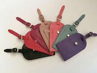 Golunski Quality Leather Travel Luggage Tag Label Black Pink Blue Purple