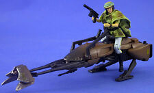 STAR WARS POTF DELUXE LOOSE RARE SPEEDER BIKE WITH PRINCESS LEIA IN ENDOR GEAR.