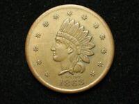 "SEMI-ANNUAL SALE!!  XF+ 1863 CIVIL WAR TOKEN ""LIBERTY INDIAN HEAD/NY SALOON"" 23c"