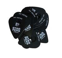 Everly Star Guitar Picks  12 Pack  .73mm  Super Grip  Black
