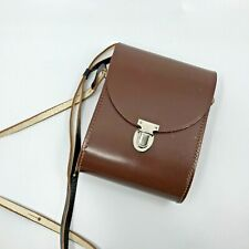 Vintage hard shell brown binocular camera bag case purse