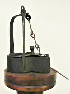 Antique 19th CENT PA GERMAN HAND WROUGHT IRON BETTY FAT LAMP EARLY LIGHTING #1