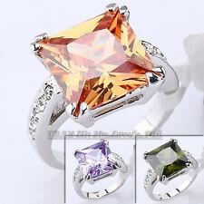 B1-R417 Fashion Simulated Gemstone Ring 18KGP CZ Rhinestone Crystal Size 5.5-9