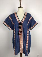Zara Trf Women Sz S Mini Dress Tunic Denim Embroidered Pom Pom Pockets Blue