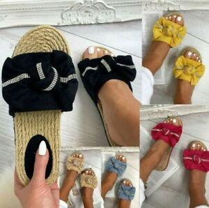 Femmes à Enfiler Noeud Mule Strass Été Confortable Tongs Sadals Chaussure Taille