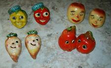 4 SETS Vintage Salt & Pepper Shakers Anthropomorphic Veggies  Japan