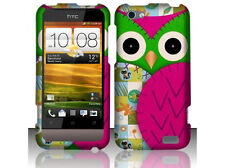 For Virgin Mobile HTC ONE V Rubberized HARD Case Snap Phone Cover Green Owl