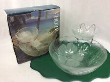 KIG Aloha Chip and Dip Bowls Set With Tiered Hanger Floral Original Box
