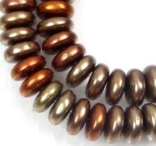 50 Czech Glass Rondelle Beads - Matte - Metallic Gold Iris 6x2mm
