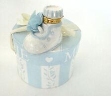 Mud Pie Porcelain Hinged Box - Blue Baby Boy Shoe Treasure Box Trinket Box