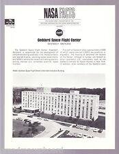 NASA 1968 ORGANIZATION FACT SHEET O-5 GODDARD SPACE FLIGHT CENTER GREENBELT MD