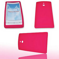 Silikon TPU Handy Hülle Cover Case Pink für Sony Xperia P P + Displayschutzfolie
