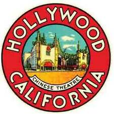 Hollywood, CA   California   Vintage-Looking Travel Decal/Luggage Label/Sticker