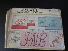 Vintage McCall Kaumagraph Transfer Pattern 447 Monograms Used