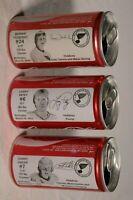 St. Louis Blues 3 Coca Cola Cans Coke Bernie Federko Larry Patey Garry Unger