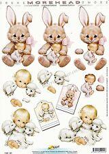 Carino Morehead Bambina & Bunny 3D DECOUPAGE FOGLIO CARTA di effettuare il taglio REQ