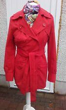 Hobbs red raincoat Mac trench Coat Mid Length Size UK 8