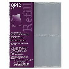 CR Gibson QP12 Small Recipe Book Pocket Page Refill 20 sheets (QP-12)